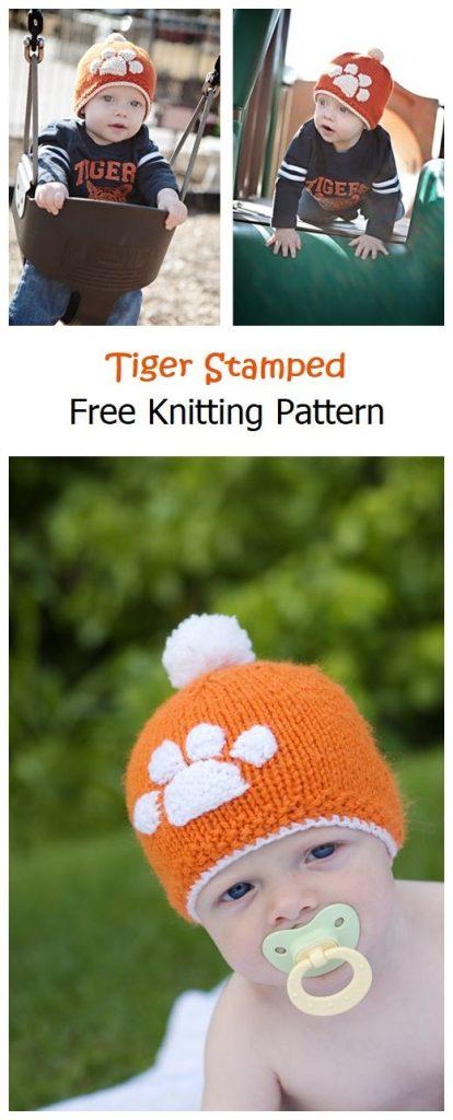 Tiger Stamped Hat Free Knitting Pattern
