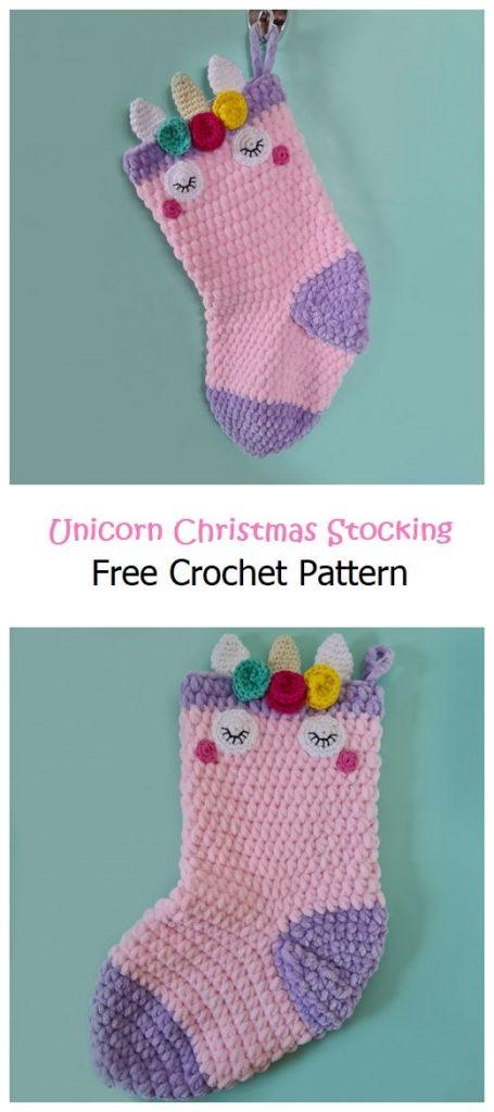 Unicorn Christmas Stocking Free Pattern