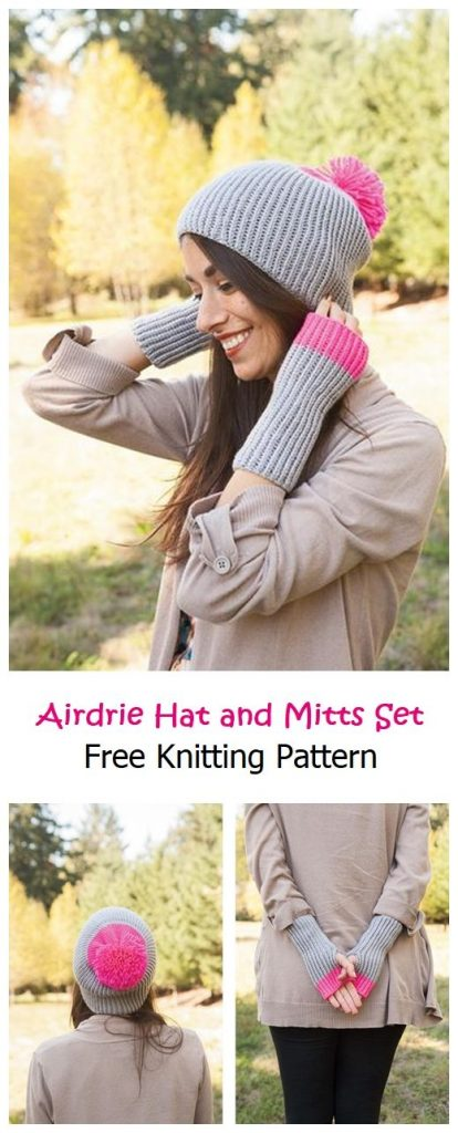 Airdrie Hat and Mitts Set Free Pattern