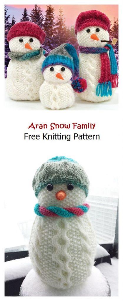 Aran Snow Family Free Knitting Pattern