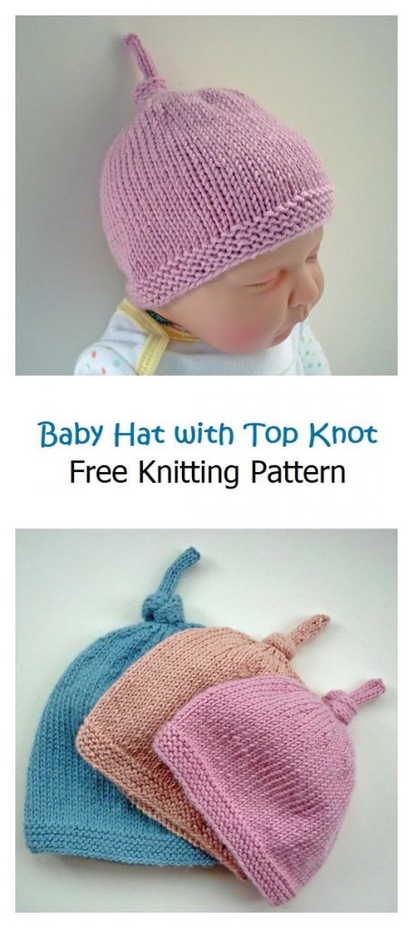 Baby Hat with Top Knot Free Pattern