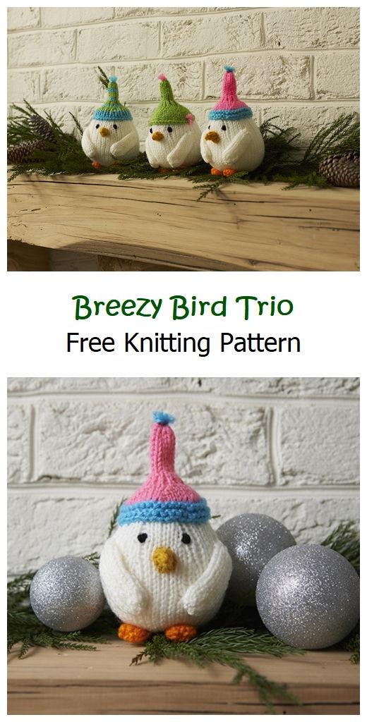 Breezy Bird Trio Free Knitting Pattern