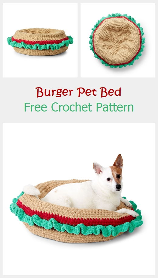 Burger Pet Bed Free Crochet Pattern