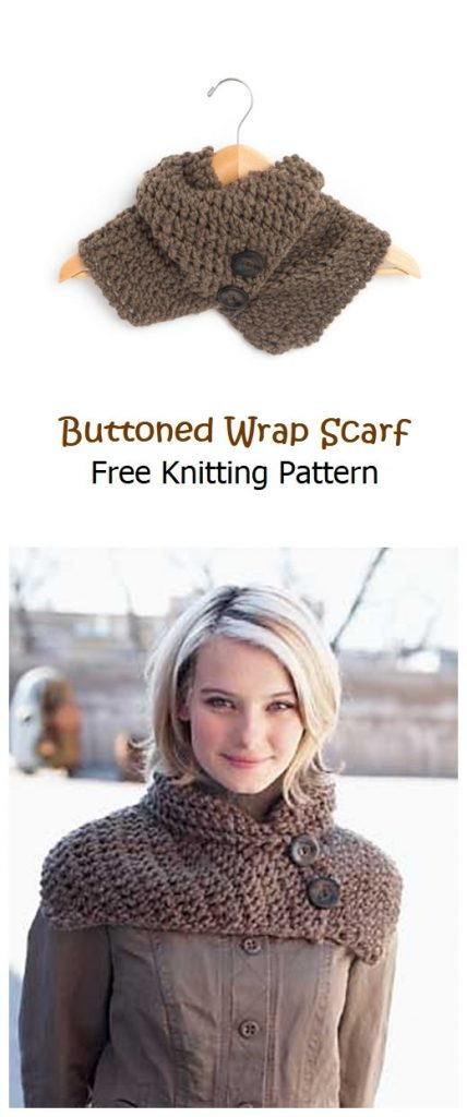 Buttoned Wrap Scarf Free Knitting Pattern