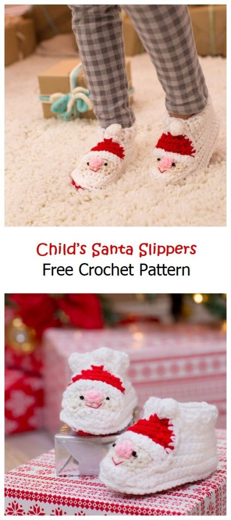 Child's Santa Slippers Free Crochet Pattern