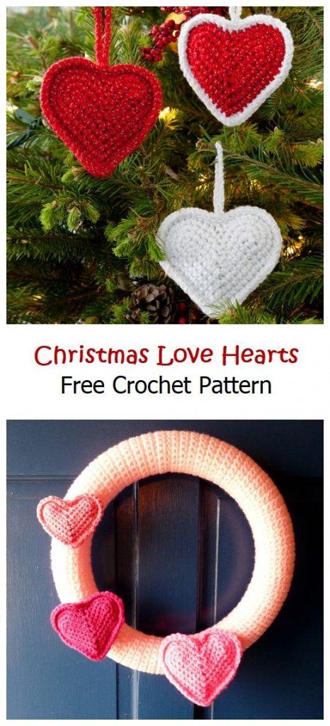Christmas Love Hearts Free Crochet Pattern