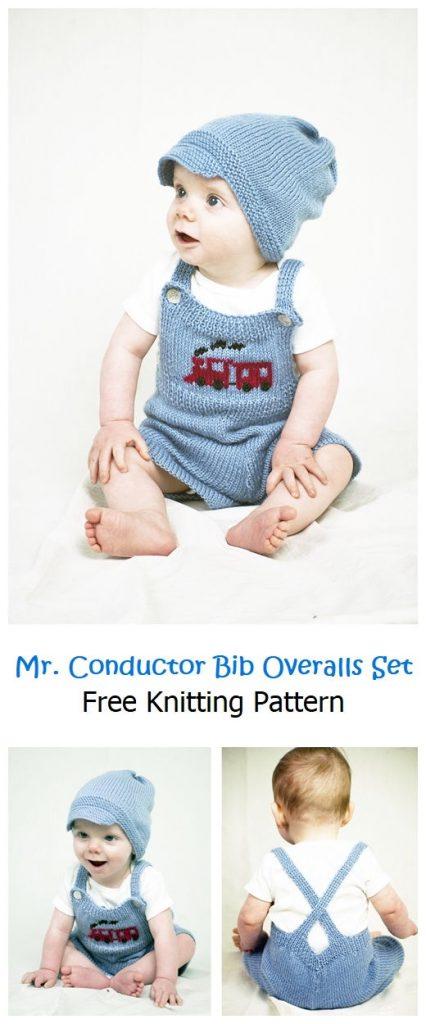Mr. Conductor Bib Overalls Set Free Pattern