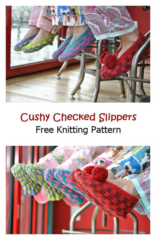 Cushy Checked Slippers Free Knitting Pattern