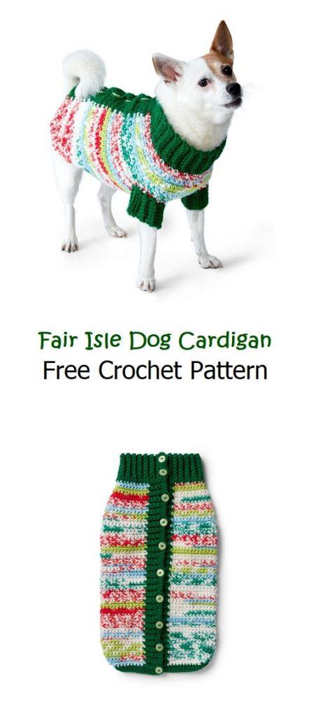 Fair Isle Dog Cardigan Free Crochet Pattern