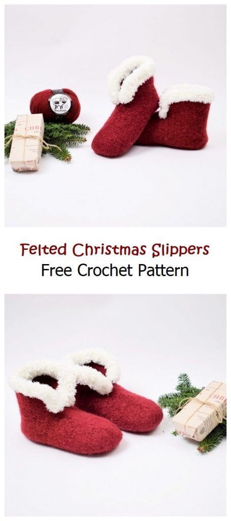 Felted Christmas Slippers Free Crochet Pattern