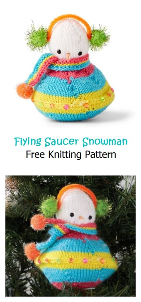 Flying Saucer Snowman Free Knitting Pattern