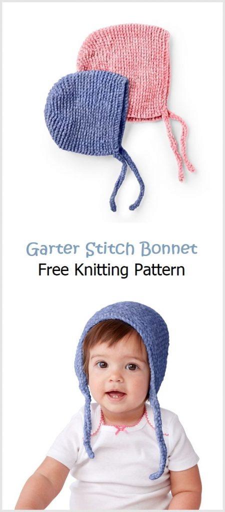 Garter Stitch Bonnet Free Knitting Pattern