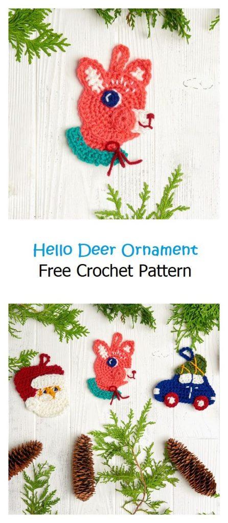 Hello Deer Ornament Free Crochet Pattern