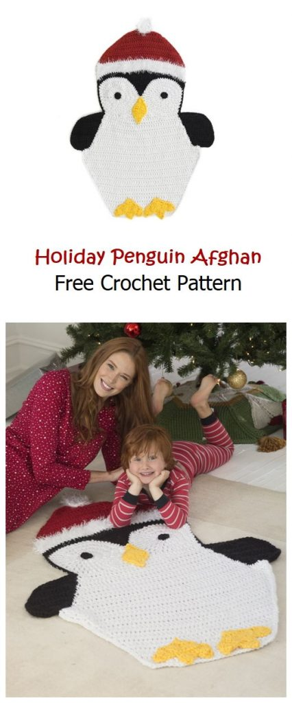 Holiday Penguin Afghan Free Crochet Pattern