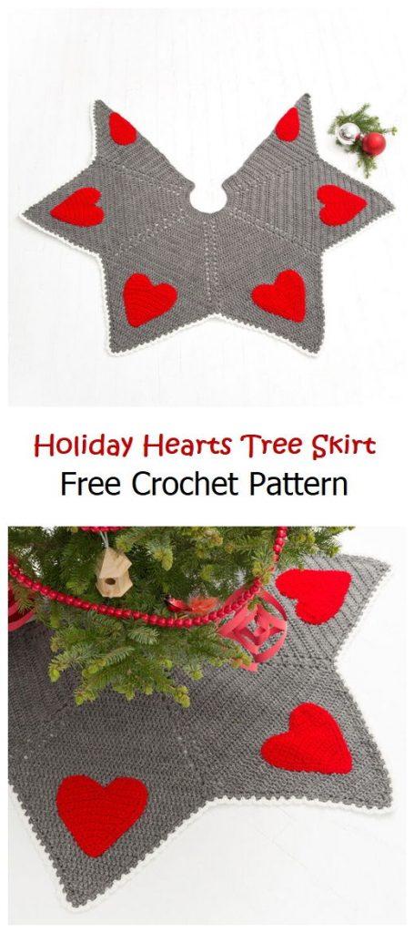 Holiday Hearts Tree Skirt Free Pattern