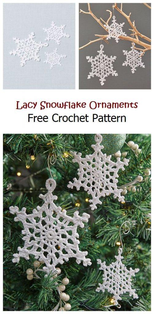 Lacy Snowflake Ornaments Free Crochet Pattern