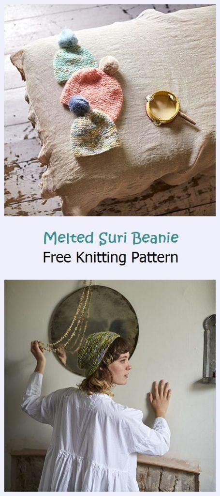 Melted Suri Beanie Free Knitting Pattern