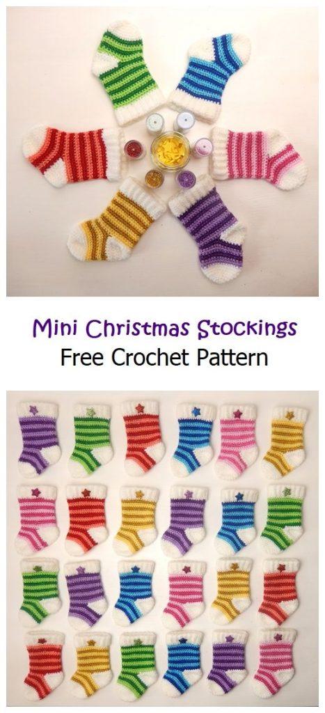 Mini Christmas Stockings Free Crochet Pattern