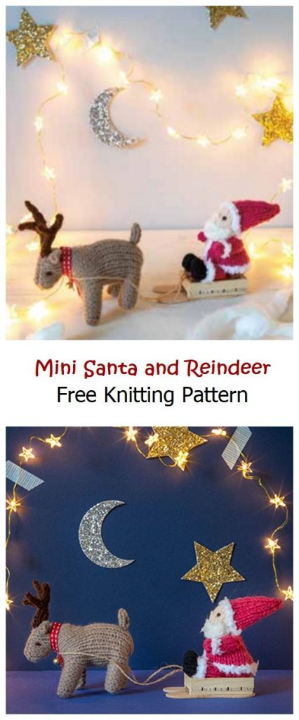 Mini Santa and Reindeer Free Knitting Pattern