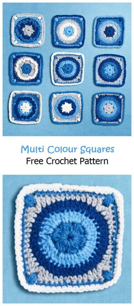 Multi Colour Squares Free Crochet Pattern