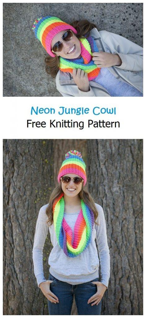 Neon Jungle Cowl Free Knitting Pattern