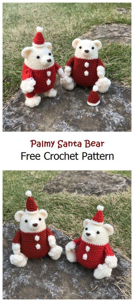 Palmy Santa Bear Free Amigurumi Pattern