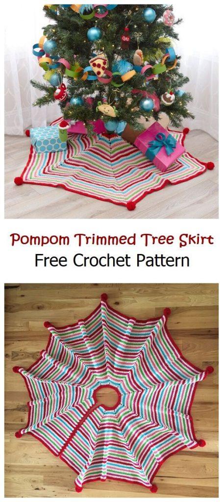 Pompom Trimmed Tree Skirt Free Pattern