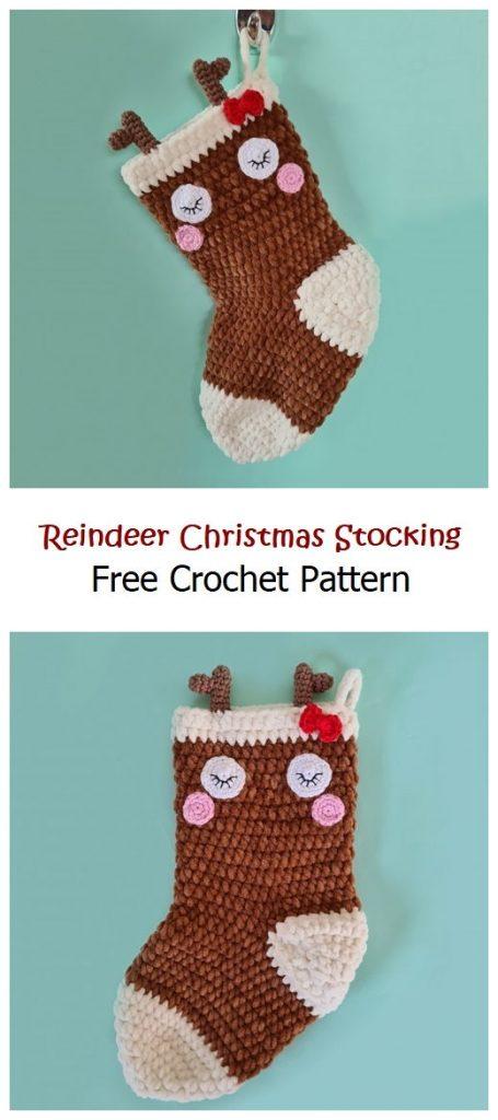 Reindeer Christmas Stocking Free Pattern
