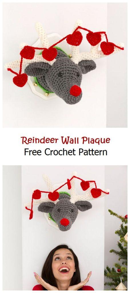 Reindeer Wall Plaque Free Crochet Pattern