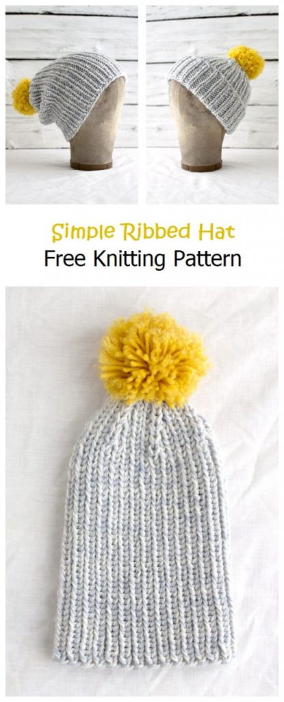 Simple Ribbed Hat Free Knitting Pattern