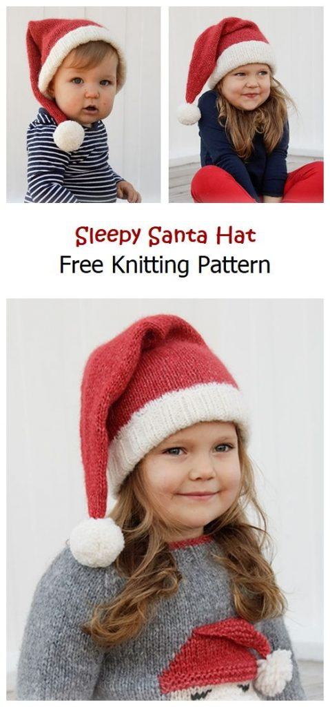 Sleepy Santa Hat Free Knitting Pattern