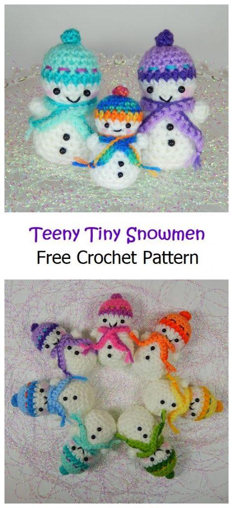 Teeny Tiny Snowmen Free Crochet Pattern