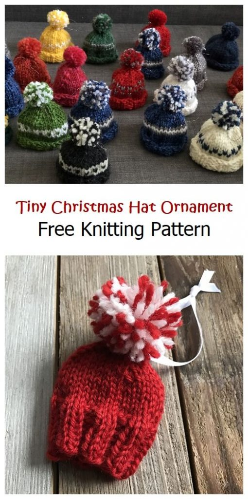 Tiny Christmas Hat Ornament Free Pattern
