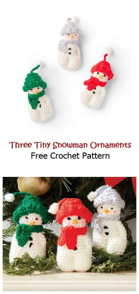 Three Tiny Snowman Ornaments Free Crochet Pattern