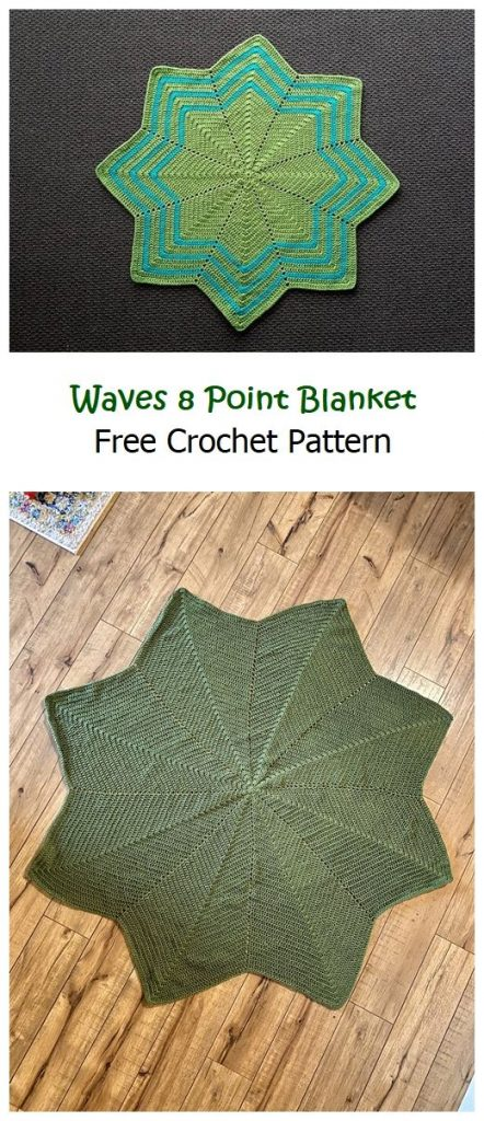 Waves 8 Point Blanket Free Crochet Pattern