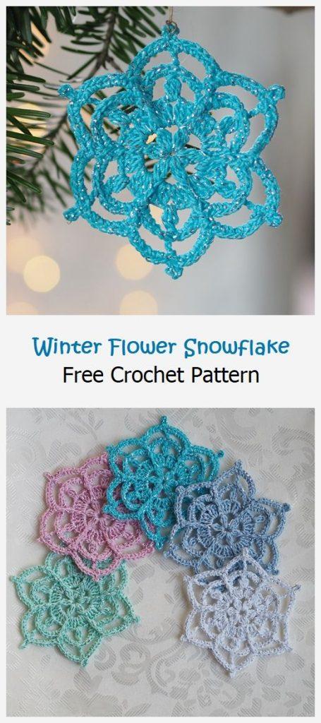 Winter Flower Snowflake Free Pattern