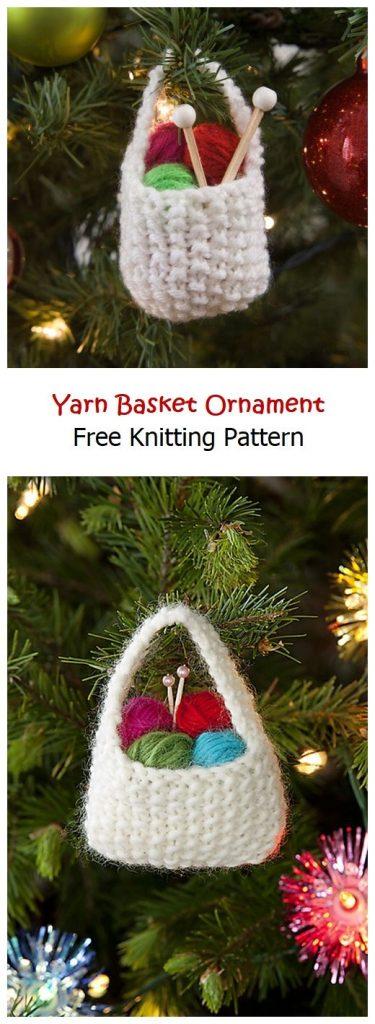 Yarn Basket Ornament Free Knitting Pattern