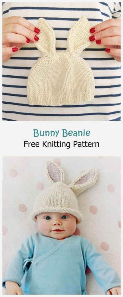 Bunny Beanie Free Knitting Pattern