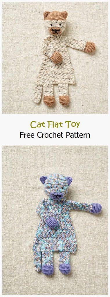 Cat Flat Toy Free Crochet Pattern