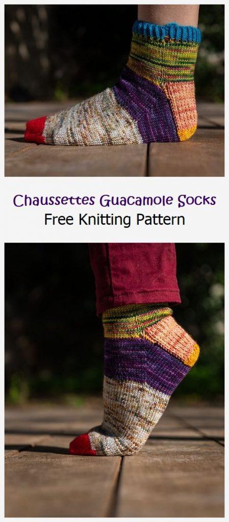 Chaussettes Guacamole Socks Free Pattern