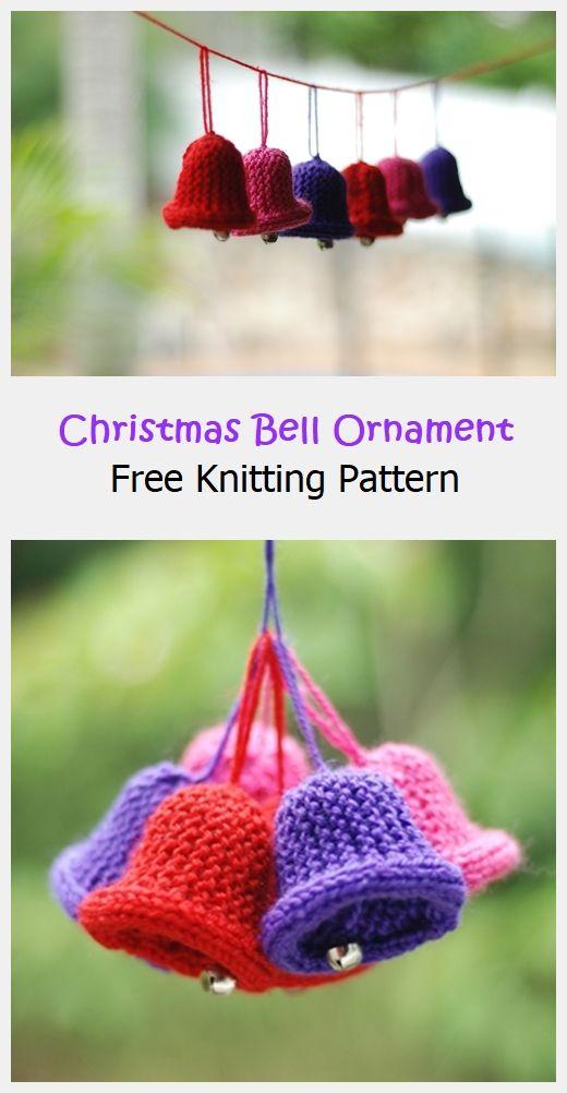 Christmas Bell Ornament Free Knitting Pattern