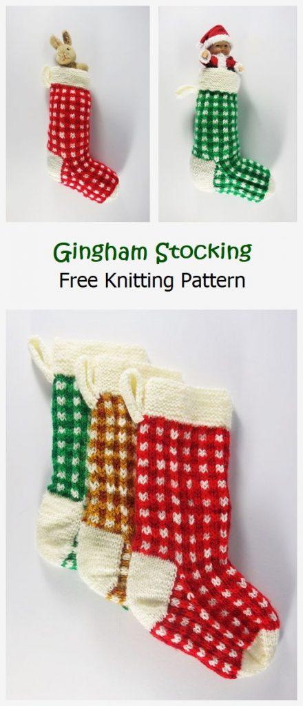 Gingham Stocking Free Knitting Pattern