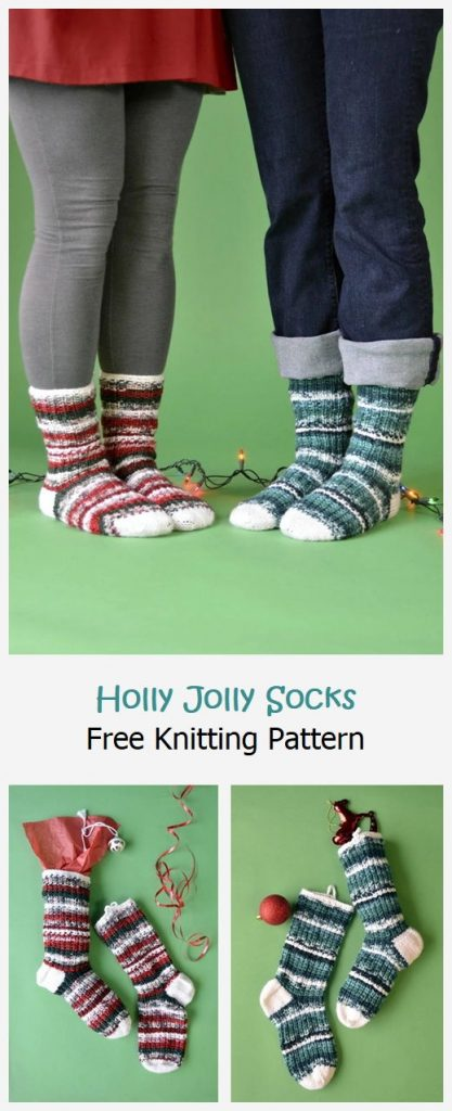 Holly Jolly Socks Free Knitting Pattern