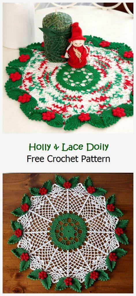 Holly & Lace Doily Free Crochet Pattern