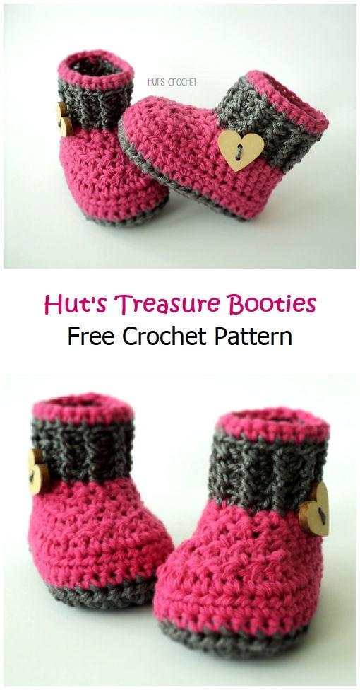 Hut's Treasure Booties Free Crochet Pattern