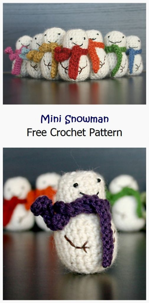 Mini Snowman Free Crochet Pattern