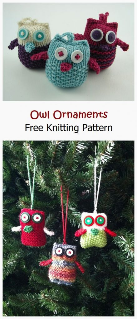 Owl Ornaments Free Knitting Pattern