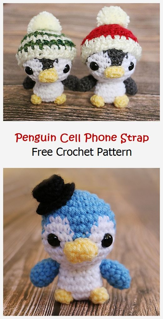 Penguin Phone Strap Free Crochet Pattern