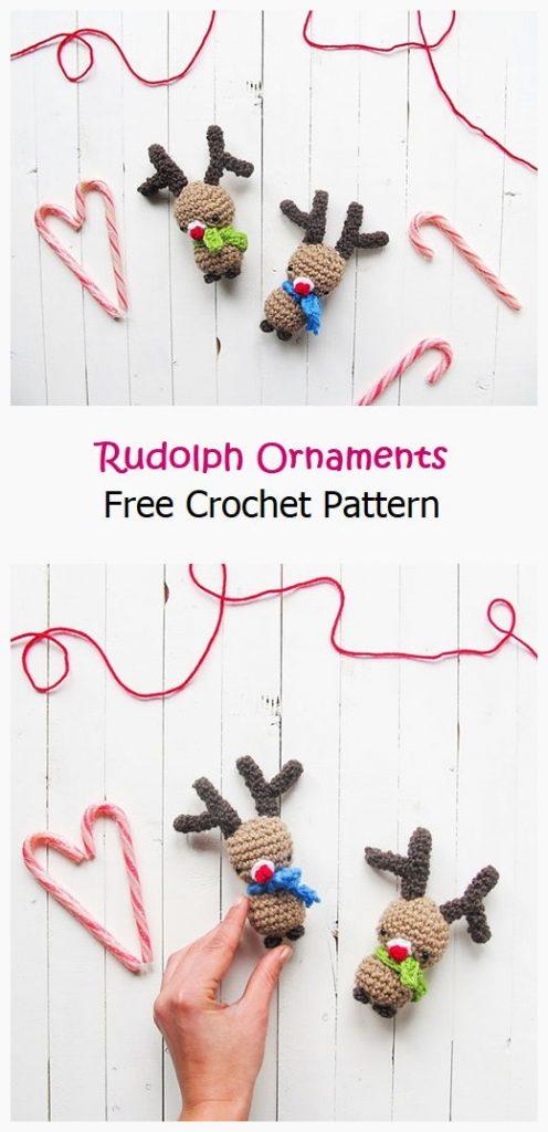 Rudolph Ornaments Free Crochet Pattern