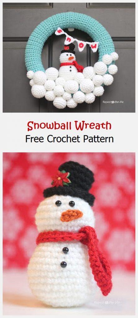 Snowball Wreath Free Crochet Pattern